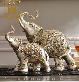 Wholesale New Product Antique Silver Animal Statue With Resin Elephant Home  Decor Folk Art Craft