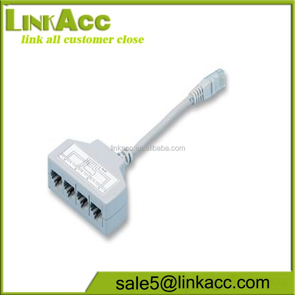 Cat5e 4 Way Ethernet Cable Splitter,Rj45 Male To 4x Rj11 Female ...