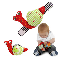 Baby Animal Plush Doll Early Educational Soft Toy Baby Toy Baby Rattles Toys Animal Caterpillar Snails Wrist Strap With Rattle