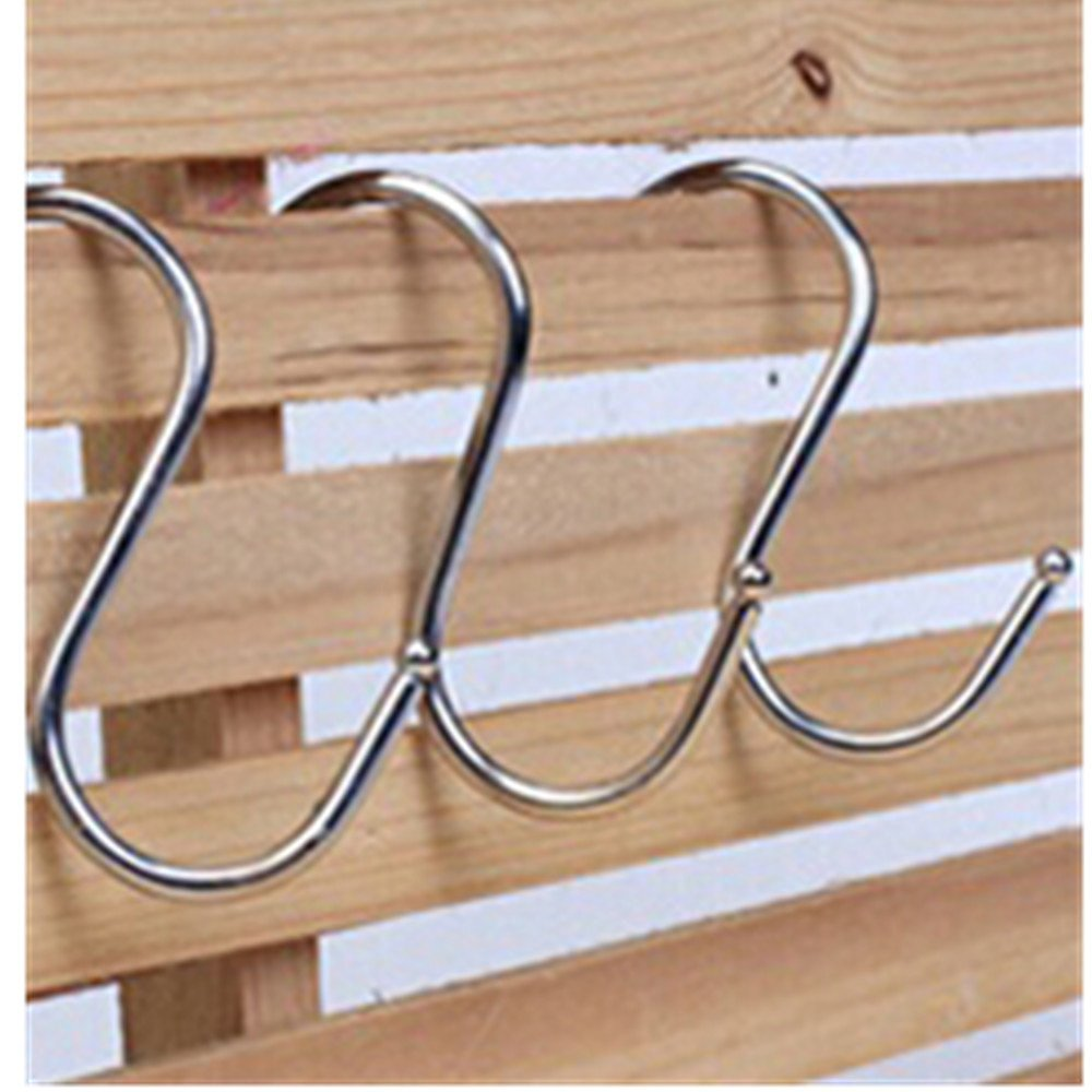KAKA(TM) 15x Stainless S Hooks Kitchen Pot Pan Hanger Clothes Storage Rack (L)