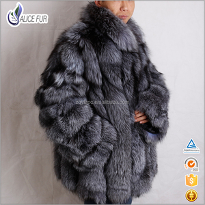 Excellent China Supplier OEM Service High Quality Natural Color Silver Fox Fur Coats For Men