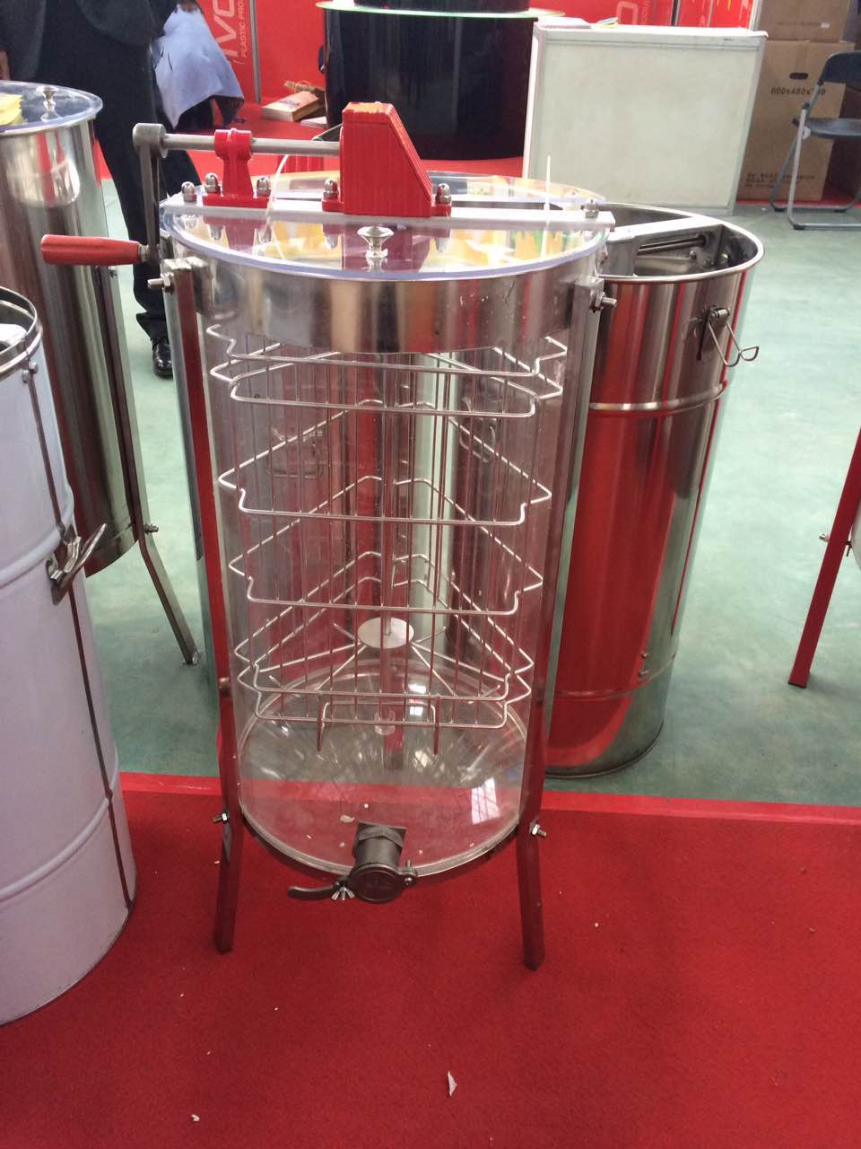 New type 3 frames acrylic manual trasparent honey extractor