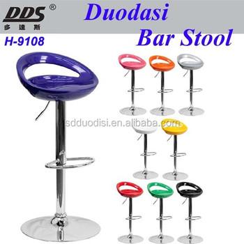 Modern Plastic Adjustable Height Chrome Metal Bar Stool Swivel Color Circle  Seat Chair H 9108