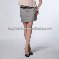 Women wear wholesale fitness clothing formal skirts designs with button and belt by China supplier