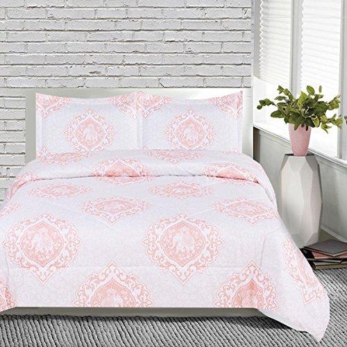 OSD 3pc Girls Pink White Medallion Elephant Comforter Full Set, Stylish Boho Chic Indian Floral Scroll Motif Themed Pattern, Light Baby Pale, Pretty Girly Damask Scrollwork Animal Bedding