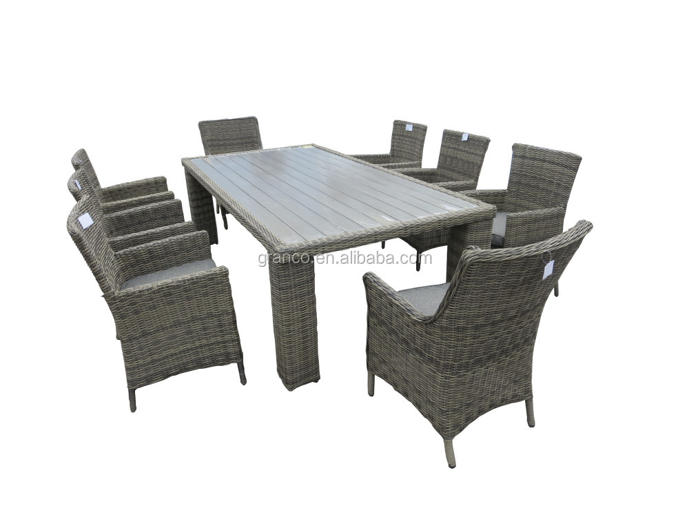 Poly Wood Table Top 8 Seater Outdoor Furniture Rattan Dining Set Part 64