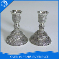 Plated Traditional Stem Indoor Table Small Silver Candle Holder