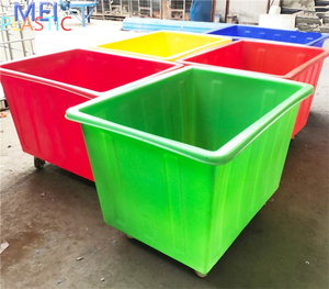 Blue green red poly plastic laundry cage trolley for commercial housekeeping service