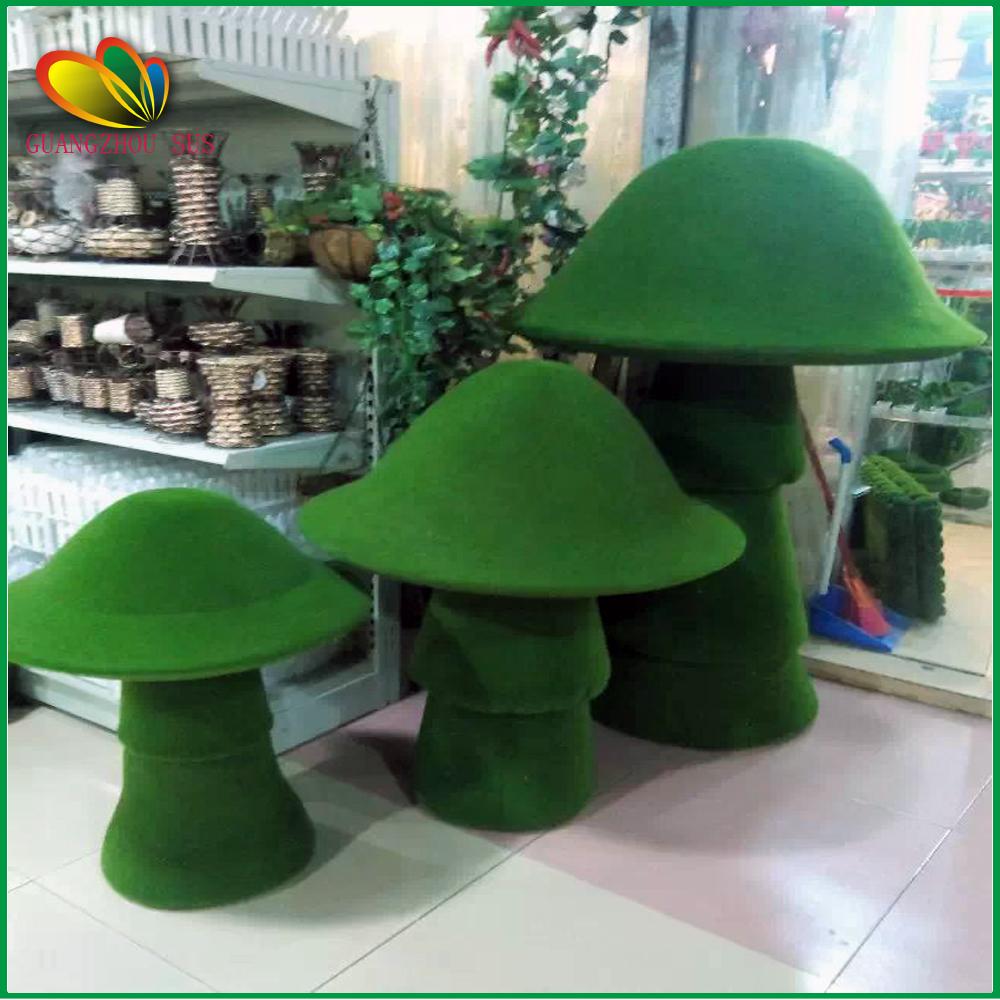 Garden Decoration Artificial Grass Mushroom Flocking Craft Topiary ...