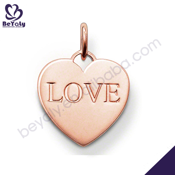 Heart with carved love rose gold long chain pearl necklace