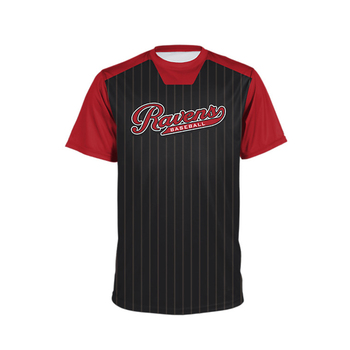 Custom sublimated adult baseball jersey apparel black and red no buttons with team logo