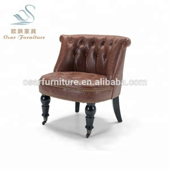 Luxury Brown Leather Tufted Accent Tub Chair Bouji With Casters