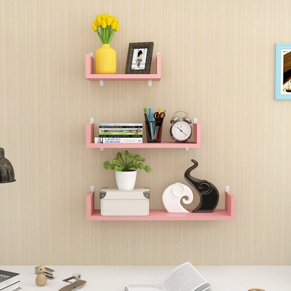 KLWJ Floating shelves, U shaped wall shelf wood shelves set corner shelf unit storage shelving bookshelf creative colorful wall shelf-A