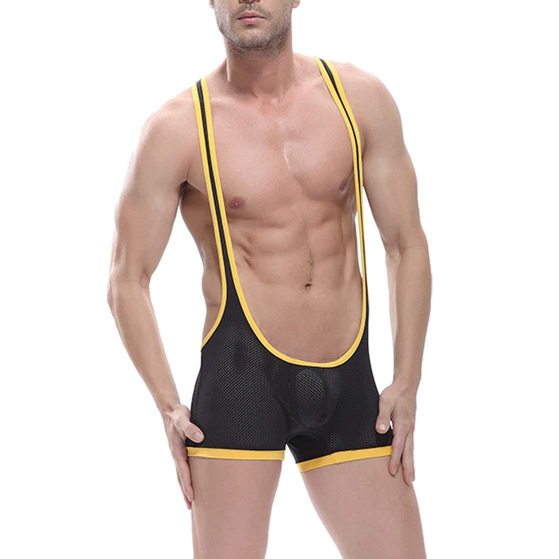 Get Quotations · Dolpind Men s Sexy Mesh Boxer Suspenders Mankini Underwear  Bodywear Sporty Wrestling Singlet 0946f1baf
