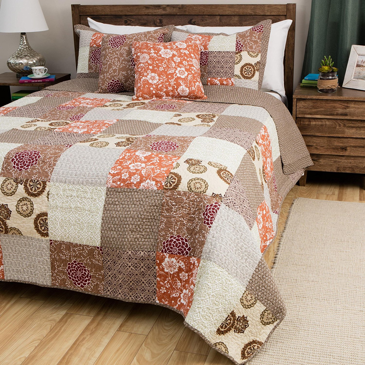 2 Piece Grey Floral Twin Size Patchwork Quilt, Oversized Brown Beige Medallion Geometric, Orange White Flowers Geometrical Burgundy Spring Soft Gray, Reversible, Cotton, Synthetic Fiber
