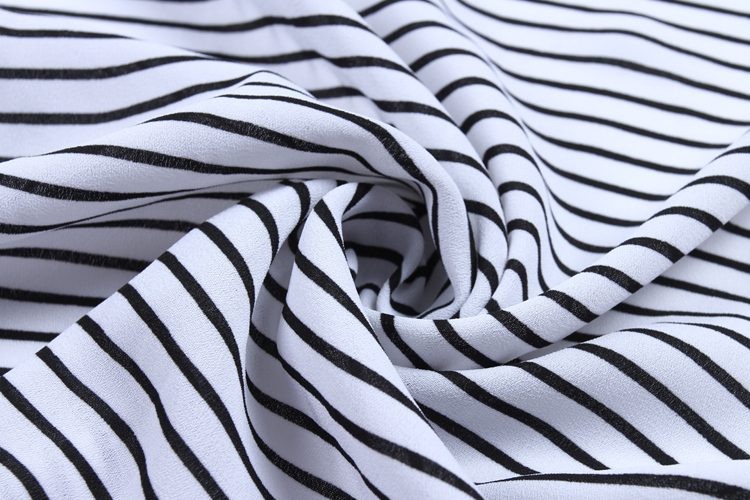 White black printed dty wholesale crepe 100% polyester fabric for women dress