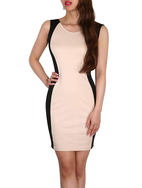 95e5c07617a3 Get Quotations · SodaCoda Women's Bodycon Contrast Optical Illusion Office  Short Dress ...