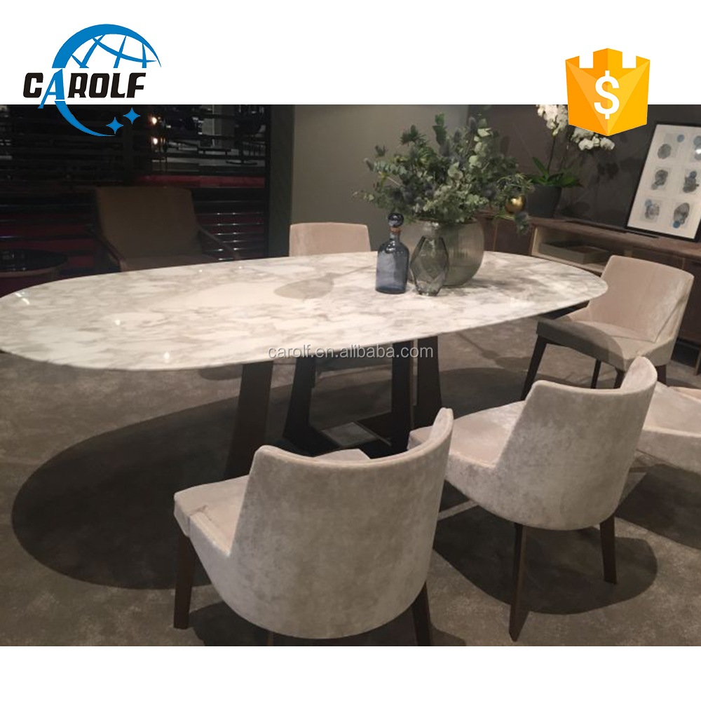 8 seater luxury oval dining table with marble on top