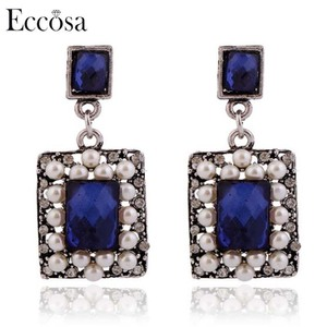 Eccosa 2018 New Arrivals Mumbai Fashion Jewellery Casual Old Design Stone Pearl Design Ancient Silver Plated Earrings For Women