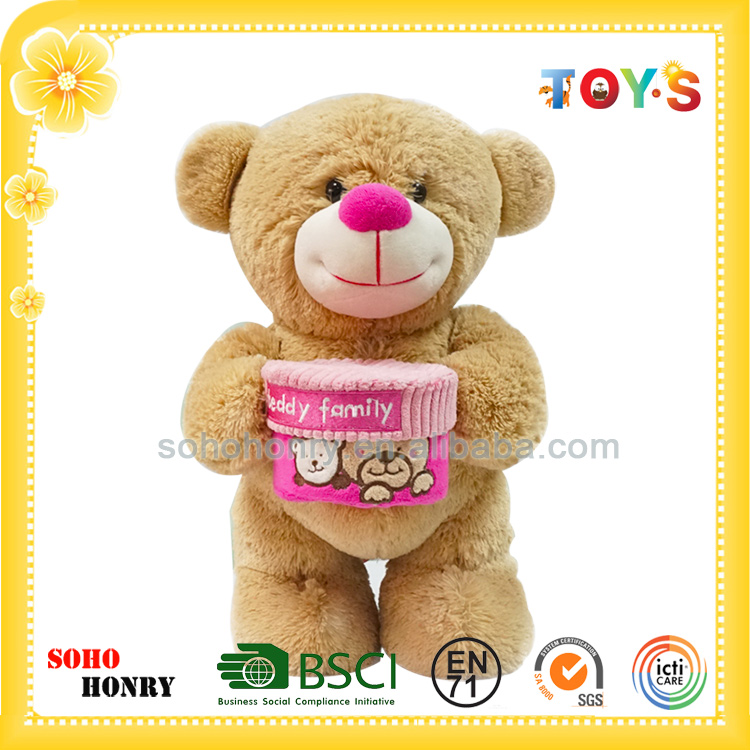 Stuffed Custom Plush Toy Teddy Bear with Gift Box Pink