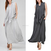 designer one piece party wear LONG SOLID ATTACHED VEST Dress 96% rayon 4% spandex MAXI DRESS Frock Design