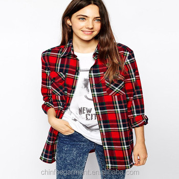 Women Long Sleeves Plaid Flannel Shirts Buy Long Sleeve Thick