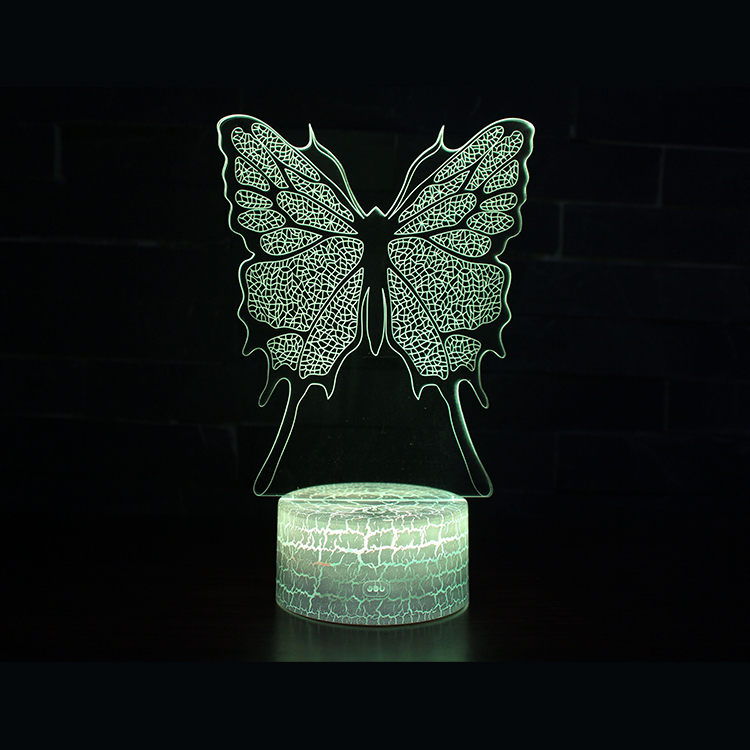 Butterfly 7 colors touch Table Desk Visual 3d night light led oem for home decoration