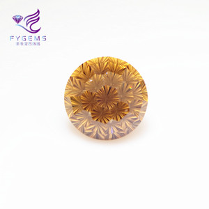 Synthetic Firework Cut Golden Yellow Polished Cz Stones