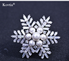 Making mothers day brooch gift,new trendy zircon and freshwater pearl snowflake brooch