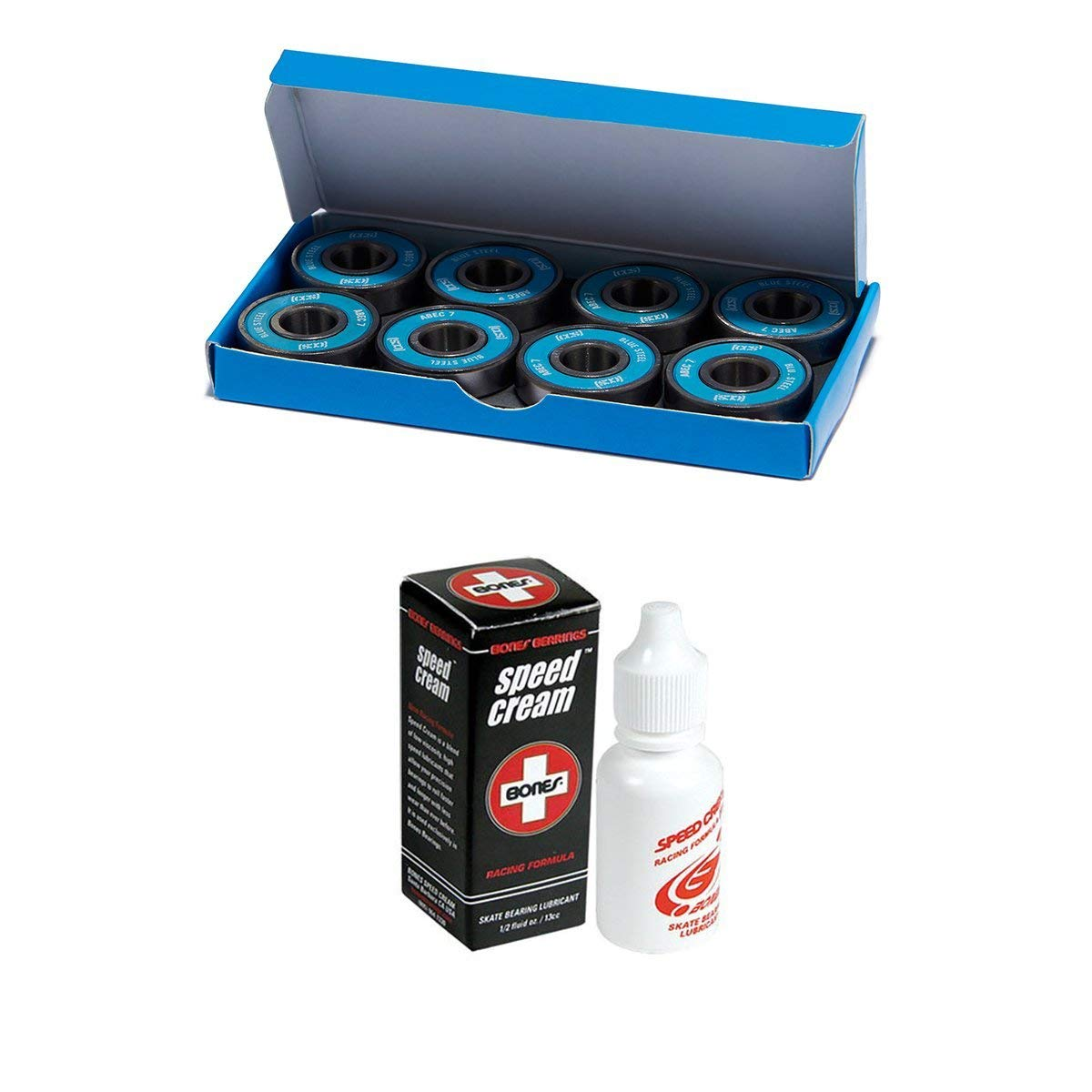 fb84e1856 Get Quotations · CCS Premium Skateboard Longboard Blue Steel Bearings ABEC 7  (Pack of 8)