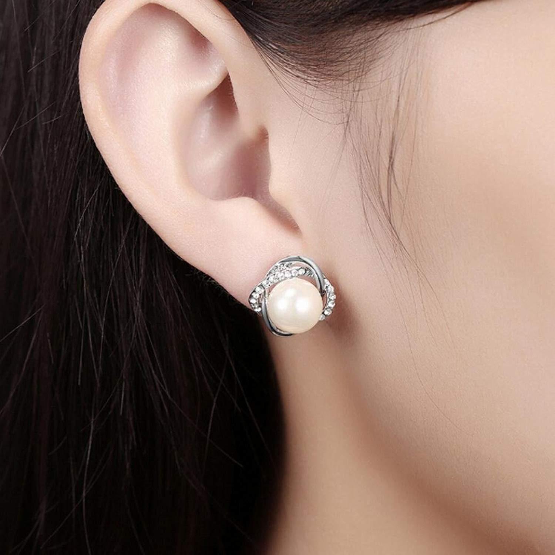 Gyoume New Design Rose Pearl Earrings Women Girl Pearl Stud Earrings Women Jewelry Lover Family Friend Gift