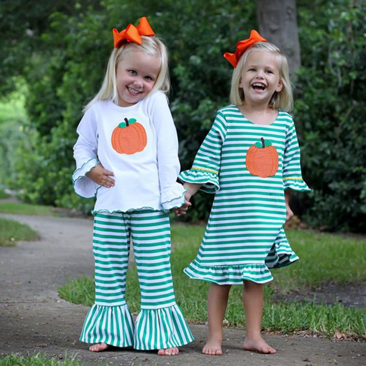 Cute design girl clothing wholesale children's smocked longall boutique ruffle clothing halloween costume baby