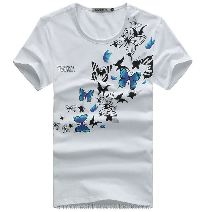 5f6060cb278f3b M50394m Creative Design Butterfly Print T Shirt - Buy Butterfly ...