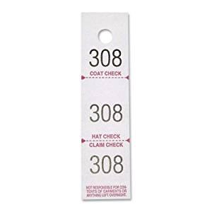 SPR99300 - Sparco 3-Part Coat Check Ticket