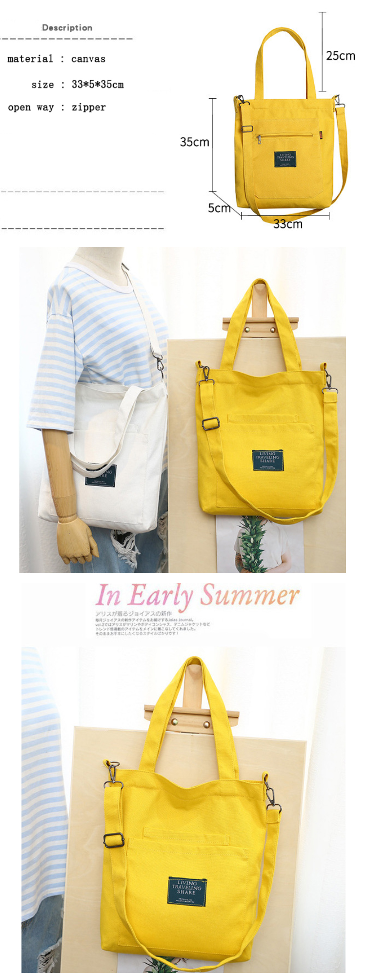 Osgoodway2 Online Hot Selling Yellow Fashion Canvas Shoulder Shopping Bag Handbag Women