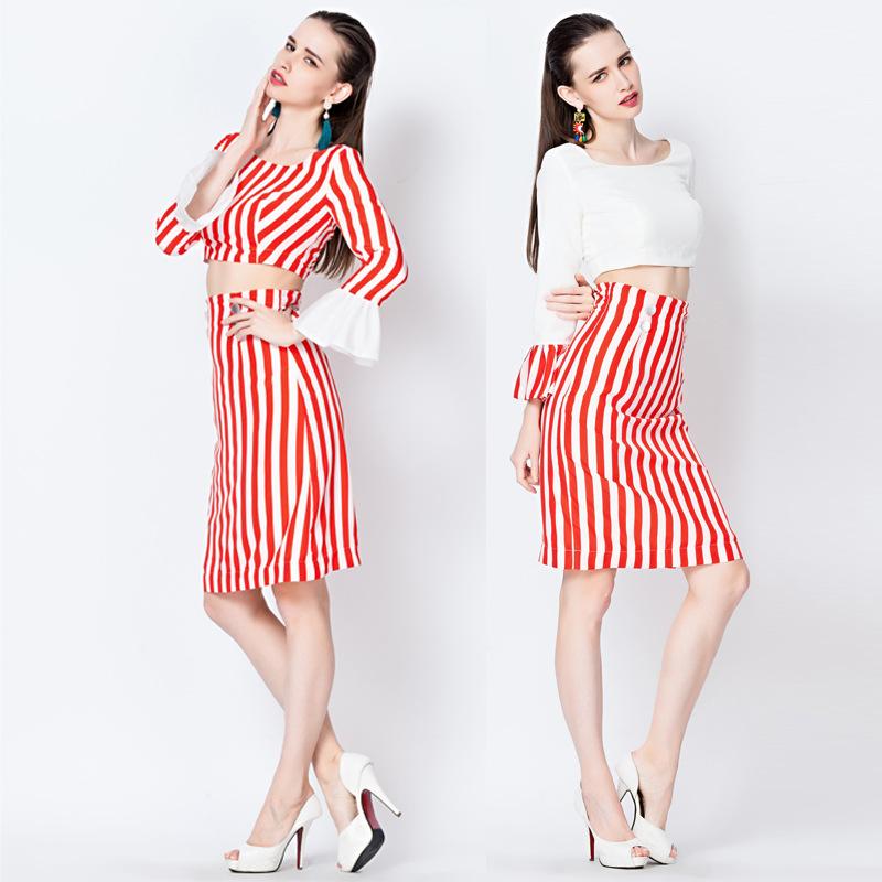 f46eb04b3c7 Buy Red White vertical stripe vintage elegant ladies set ruffle sleeve top  bust DRESS Long Sleeve Lady Dress Erope Fashion Dating in Cheap Price on  Alibaba. ...