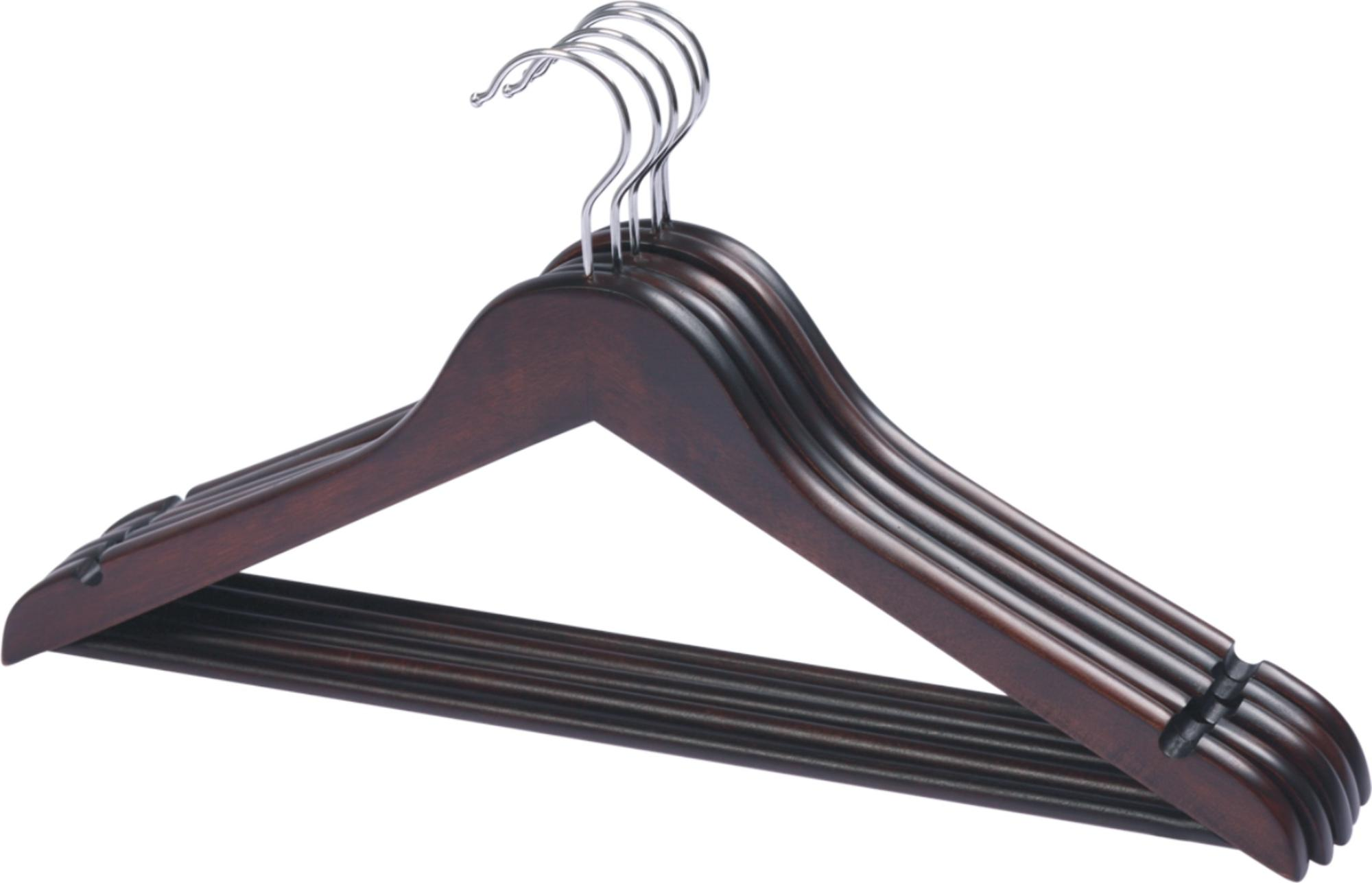 Mahogany color shirt wooden hanger with round bar