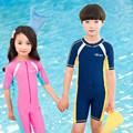 YKK Zipper Short Sleeve Swimsuit One Piece Anti Uv Swimwear Children Boy Wetsuit Beach Wear Girls