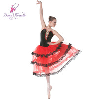 Tiered romantic tutu red spanish dress for adult girls ballet dancing long ballet tutu performance costumes 18004