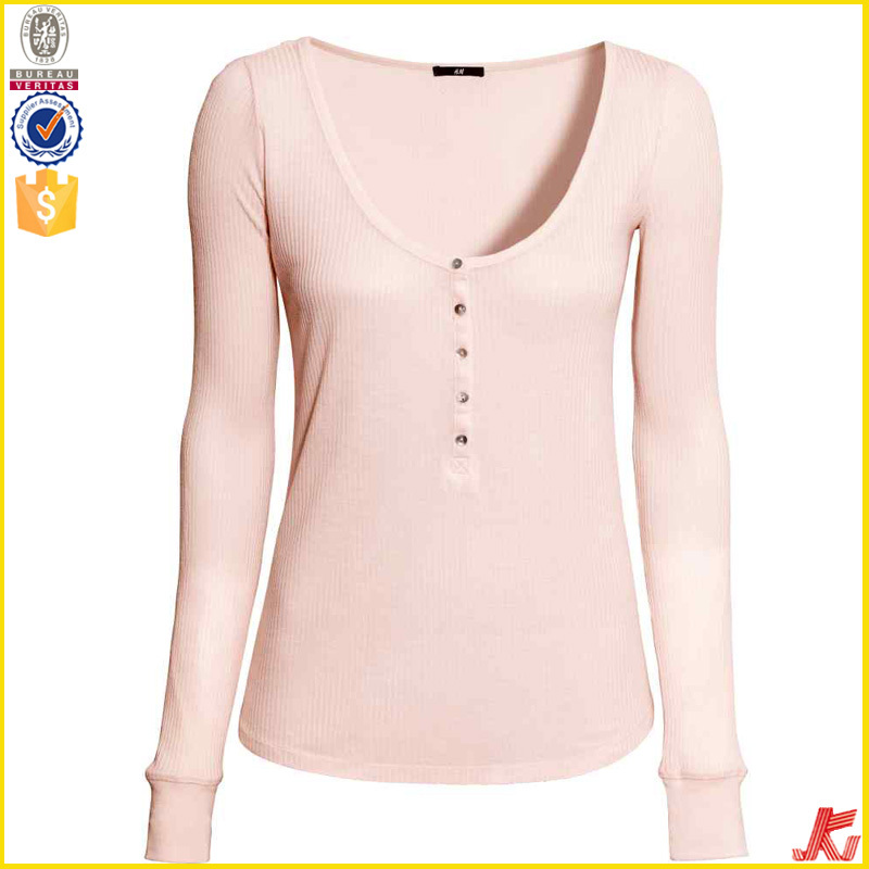 1dac5e80534 Button Harajuku Long Sleeve Rib Top Womens T Shirt - Buy Long Sleeve ...