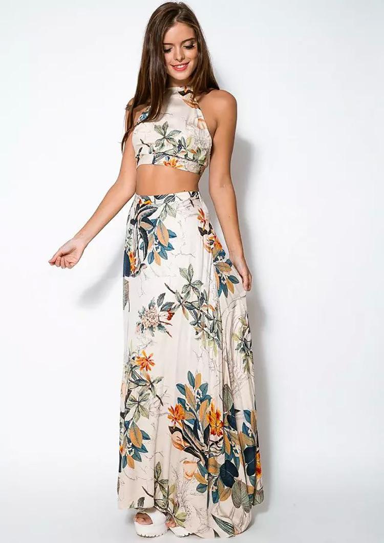 788d3fbd80c Get Quotations · 2 Piece bandage Dress Women Sleeveless Print Cotton Floral  Long Dresses Ladies Sexy Open Back Dress