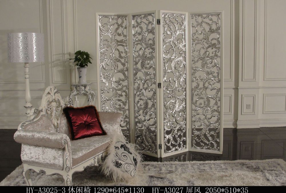 Hand Carved Silver 3 Panel Folder Wooden Screen Room Divider