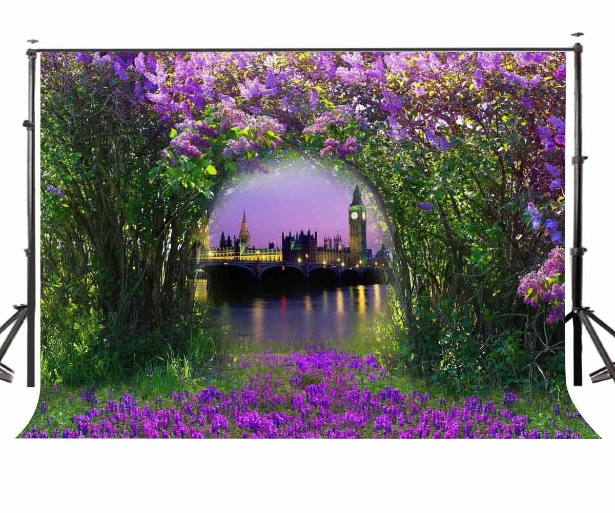 ERTIANANG 150x220cm Forest with Violet Flowers Photography Background Fantasy Night City Scene Backdrop Studio Props
