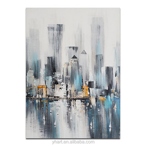 Original Creative Hand Painted Cityscape Contemporary Abstract Oil Painting