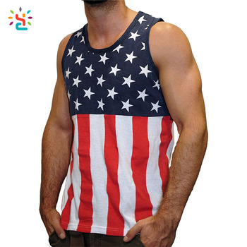 China Custom Tank Tops American Flag Top Men 2017 New Sleeveless T Shirt All Over
