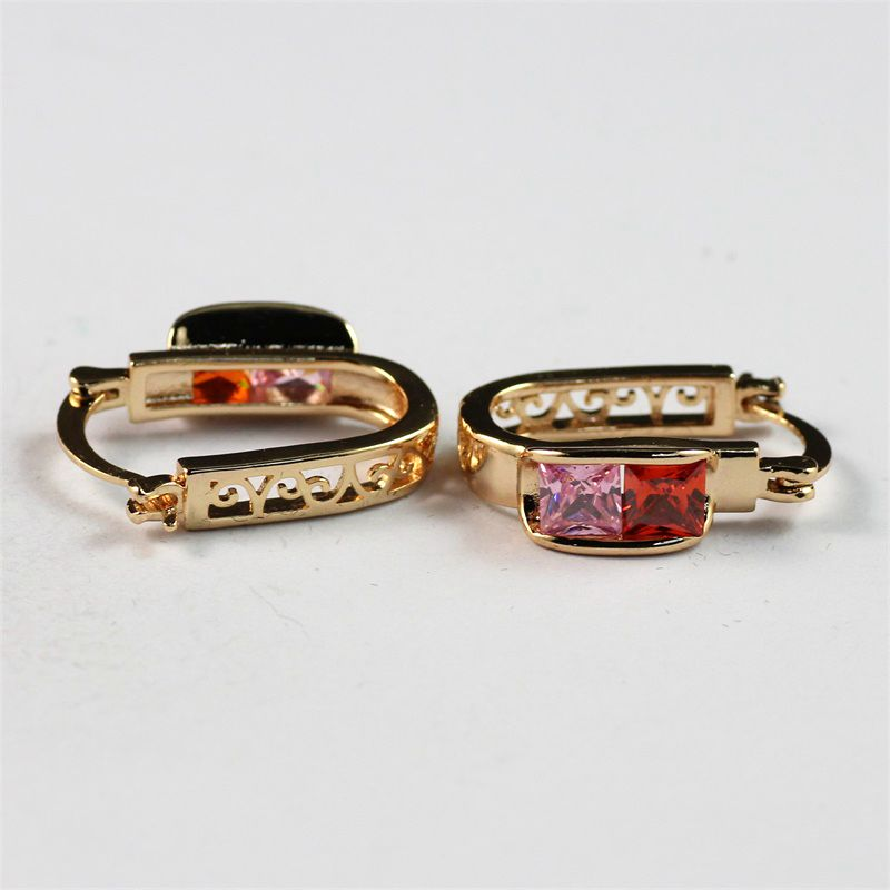 Charming Solid 18k Gold Filled Color Zircon Fashion Jewelry Hoop Earrings Wholesale