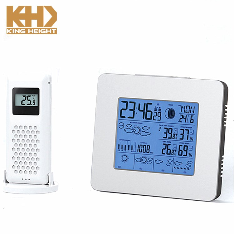 KH-WL011 RF Wireless Weather Station with LCD Backlight Indoor Outdoor Temperature Humidity Barometer Digital RCC Alarm Clock