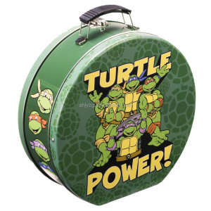ninja turtles printing metal tote box with metal latch closure