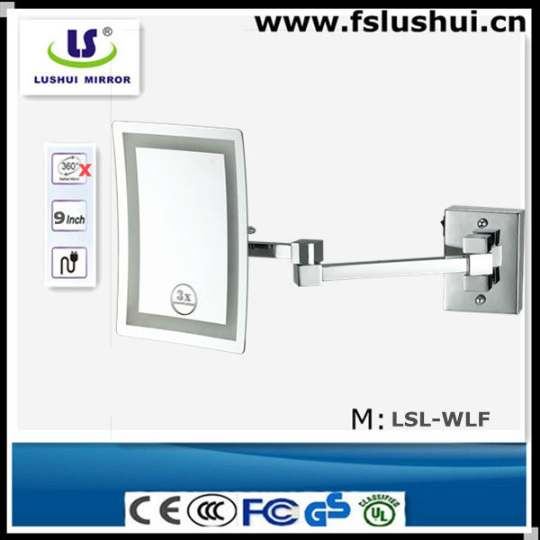 high-end rectangle wall led lighting extension arm wall mirror