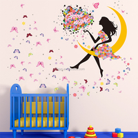 Removable PVC living room children's room flower faerie moon girl wall stickers for decoration